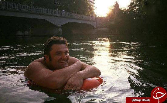 مردی که هرروز تا محل کارش شنا میکند
