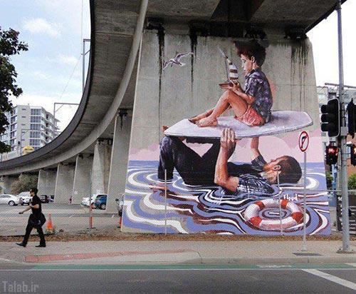 ایده خلاقانه هنرمند آمریکایی برای زیبا سازی شهر+تصاویر