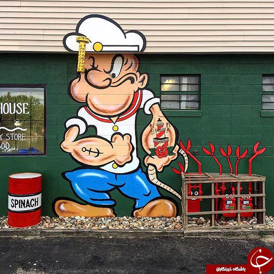خلاقیت یک هنرمند خوش ذوق در چیدمان شهری آمریکا
