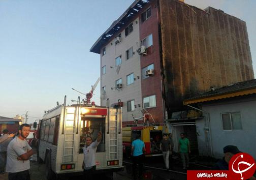 آتش سوزی واحدهای تجاری مسکونی انزلی ۸ مصدوم بر جای گذاشت + تصاویر