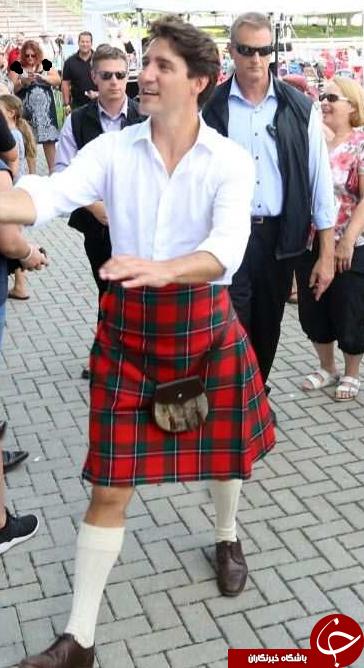 حضور نخستوزیر کانادا با دامن اسکاتلندی در میان مردم+ تصاویر