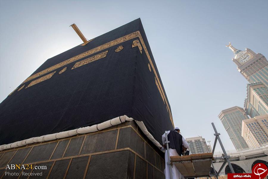 پرده خانه خدا سه متر بالا کشیده شد + تصاویر