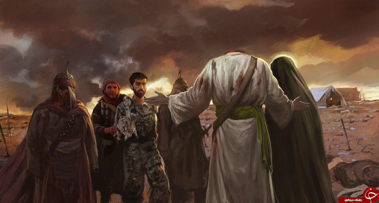 تصویرسازی زیبای استقبال امام حسین (ع) از شهید محسن حججی در لحظه شهادت+ عکس