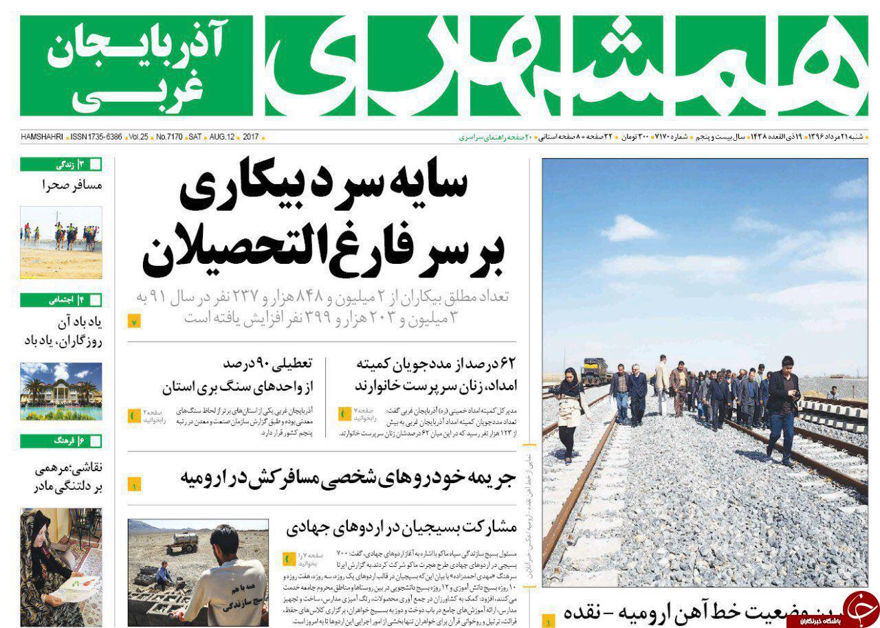 صفحه نخست روزنامههای آذربایجان غربی شنبه  ٢١ مرداد