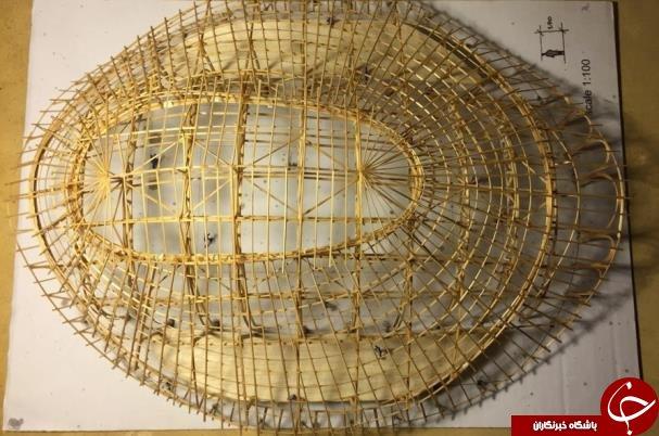 ورزشگاهی که از بامبو ساخته شده+عکس