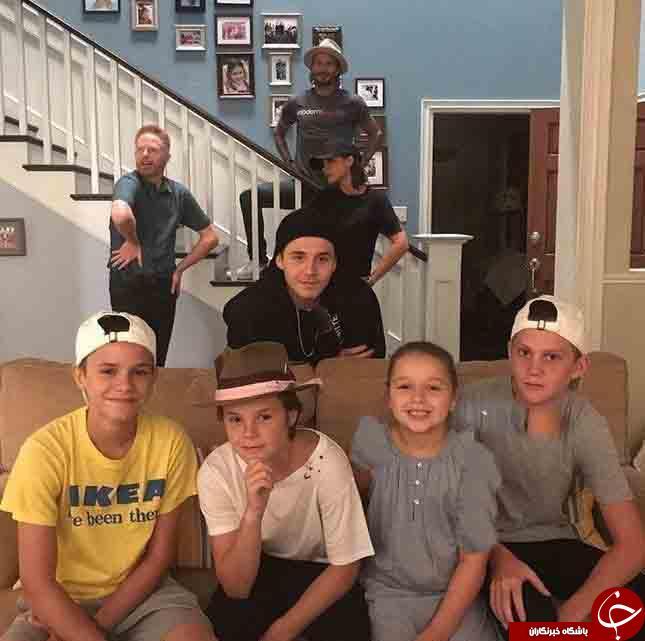 بکهام و خانواده اش در پشت صحنه سریال مشهور آمریکایی+عکس