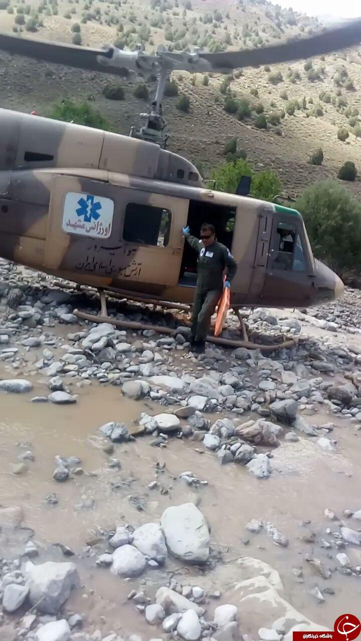 امدادرسانی به روستاهای سیلزده با بالگرد اورژانس + تصاویر
