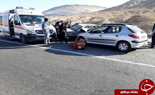 تصادف شدید دو خودروی پژو در سمنان + تصاویر