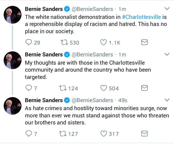 پیام توییتری سندرز در محکومیت خشونتهای نژادپرستان آمریکایی در ویرجینیا+توییت