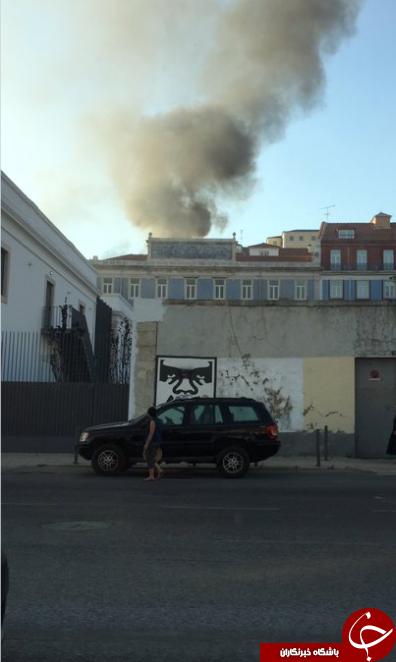 انفجار و آتشسوزی در یک منطقه گردشگری در لیسبون/ چند تبعه خارجی زخمی شدند+ تصاویر