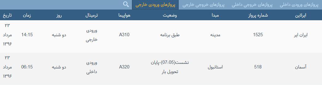 پروازهای دوشنبه فرودگاه بین المللی شهید باکری ارومیه
