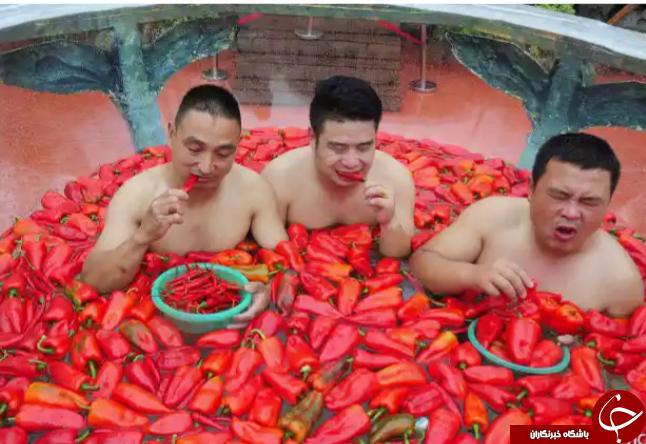 مسابقه ای عجیب اما مهیج در چین؛ شنا در آب فلفل + تصاویر