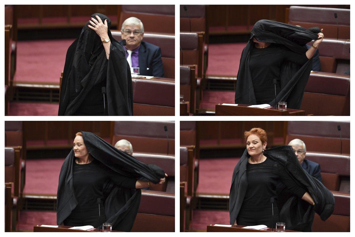 خشم اعضای سنای استرالیا از اقدام نژادپرستانه سناتور زن علیه مسلمانان+ تصاویر