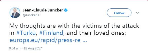 واکنش رئیس کمیسیون اروپا به حمله تروریستی فنلاند