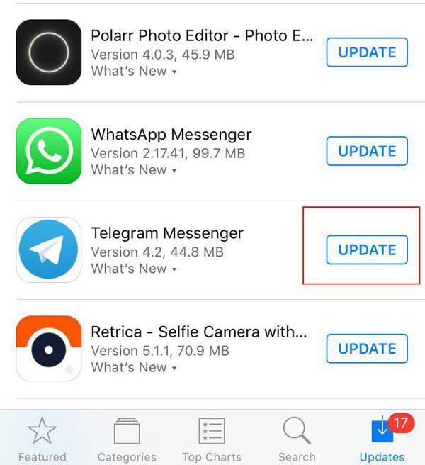 آبدیت تلگرام + آموزش تصویری