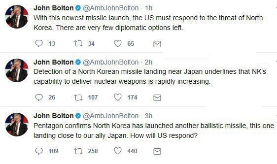 جان بولتون خواستار جنگ با کره شمالی شد +توئیت