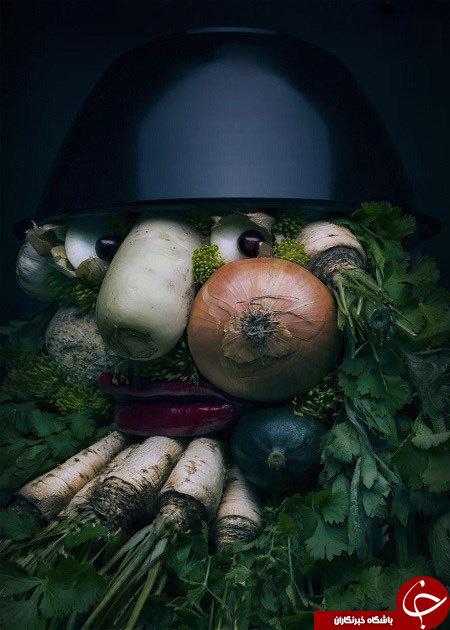 ساخت پرترههای واقعی با استفاده از میوه و سبزیجات