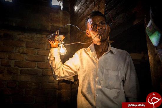 این مرد هندی از برق تغذیه میکند+عکس