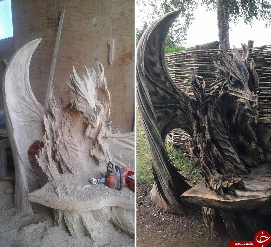 خلق اثر هنری خارق العاده با استفاده از تنه درخت +تصاویر
