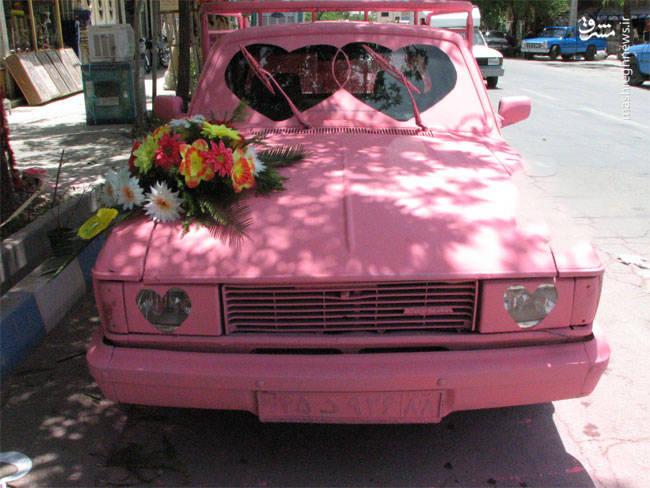 ماشین عروس صورتی خاص+عکس