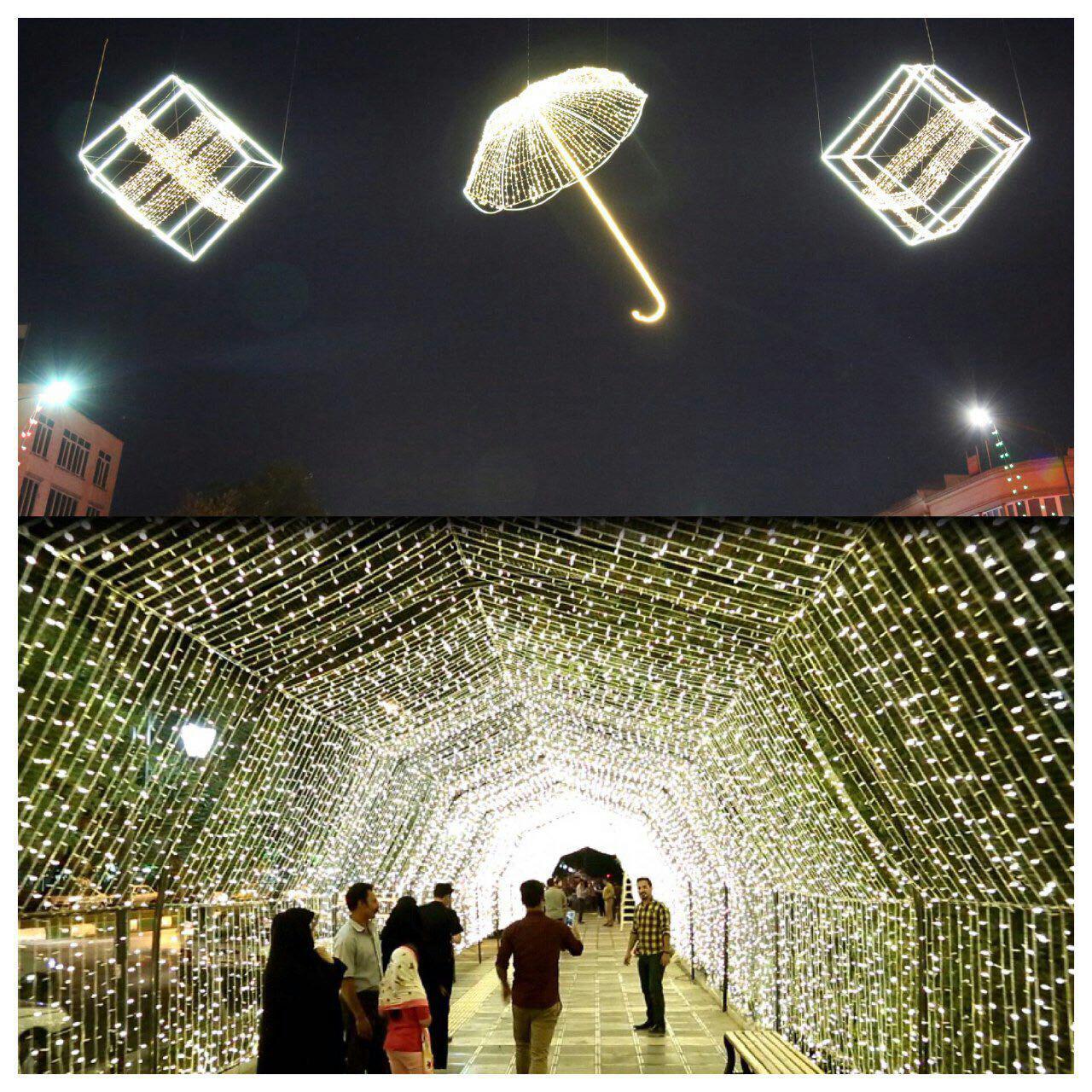 زیباسازی مبلمان شهری مشهد با نورپردازیهای خلاقانه