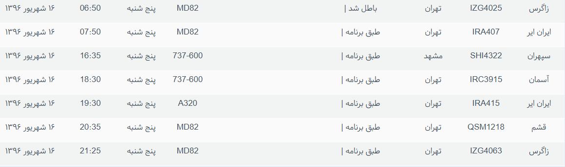 پروازهای ورودی و خروجی از فرودگاه بینالمللی بوشهر