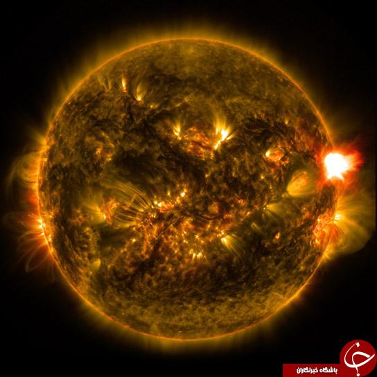 تصاویری شگفت از شعله های سوزان خورشید توسط ناسا