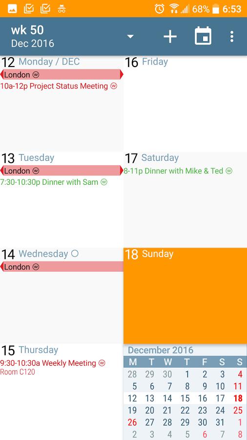 دانلود aCalendar+ Calendar & Tasks 1.16.5 - تقویم حرفه ای شمسی