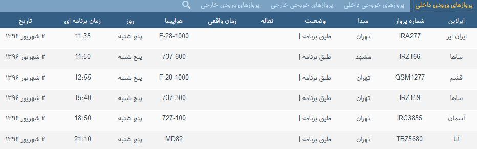 پروازهای پنج شنبه فرودگاه بین المللی شهید باکری ارومیه