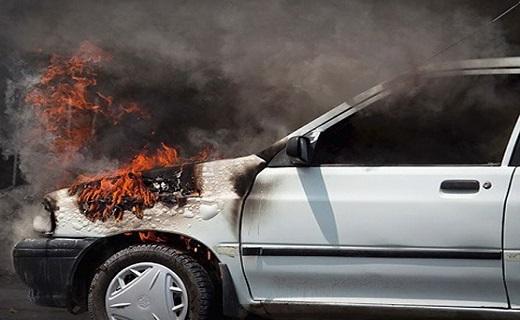 آتش گرفتن پراید از شدت گرما + فیلم