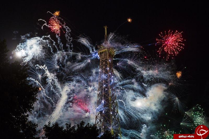 تصویری بی نظیر از جشن روز باستیل در فرانسه و آتش بازی در ایفل