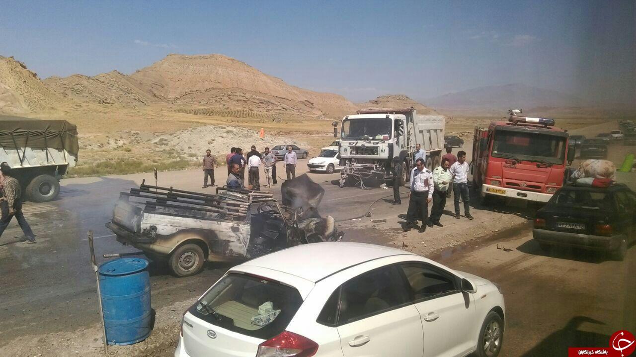 تصادف آتشین کامیون با پیکانوانت + تصاویر