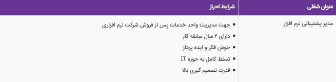 استخدام مدیر پشتیبانی نرم افزار در مشهد