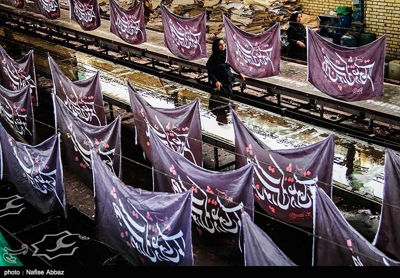 در آستانه فرارسیدن ماه محرم در کارگاه های تولید پرچم چه می گذرد؟+تصاویر