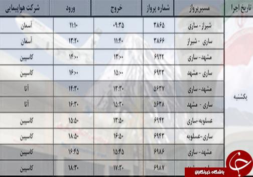 پروازهای یکشنبه ۲۶ شهریور از فرودگاههای مازندران