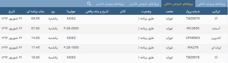پروازهای یک شنبه فرودگاه بین المللی شهید باکری ارومیه