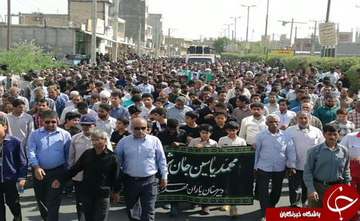 تشییع پیکر دانش آموز شهید محمدیاسین روشی در رودان+تصاویر