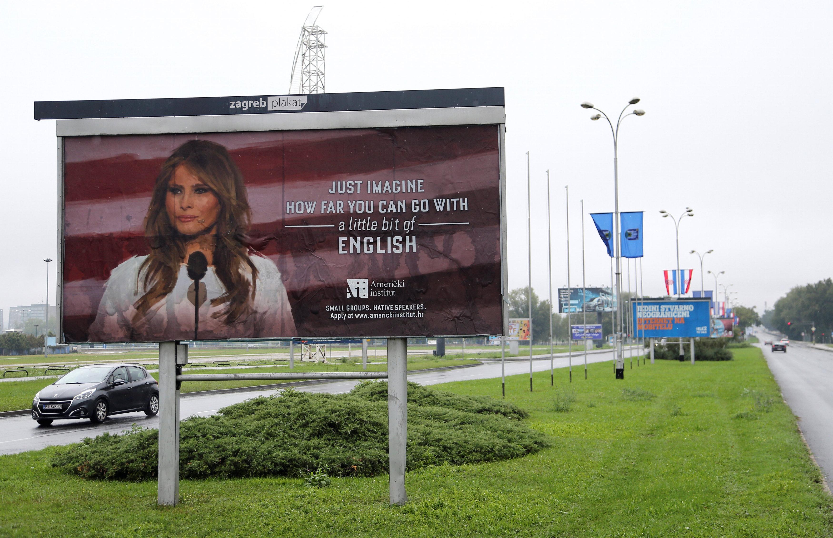 استفاده از تصویر ملانیا ترامپ برای تبلیغ مدرسه زبان در اوکراین+ تصاویر