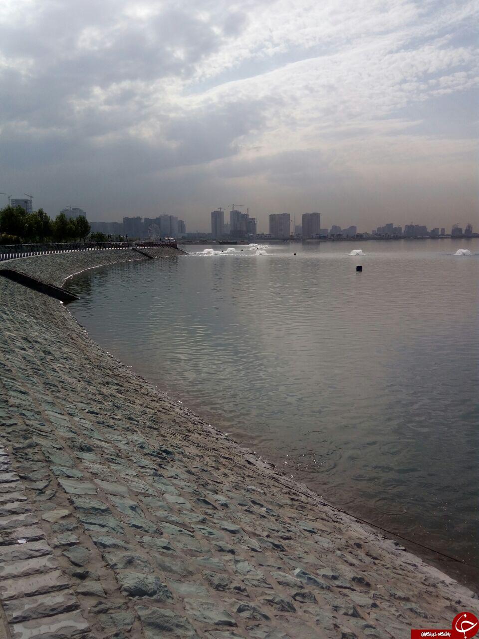نمایی از دریاچه زیبای شهدای خلیج فارس + تصاویر