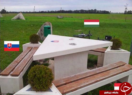 یک میز که در سه کشور قرار دارد +عکس