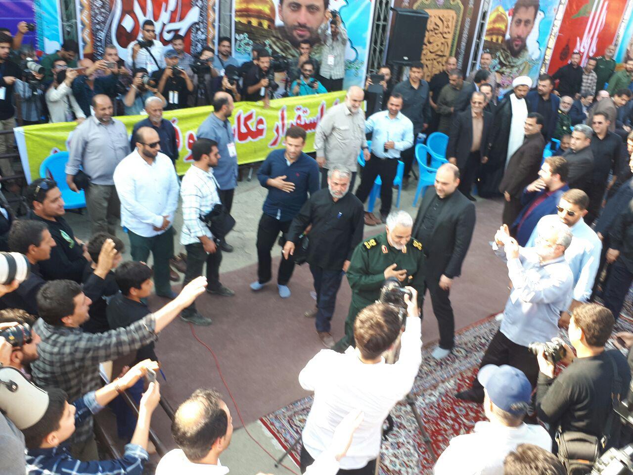 برگزاری اربعین شهید مدافع حرم مرتضی حسین پور با حضور سردار سلیمانی + تصاویر
