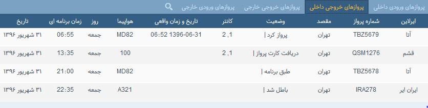 پروازهای جمعه ۳۱ شهریور از فرودگاه بین المللی ارومیه