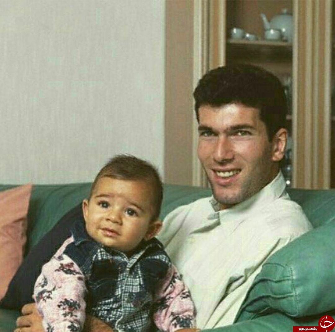 تصویری دیدنی و قدیمی از زیدان و اولین فرزندش