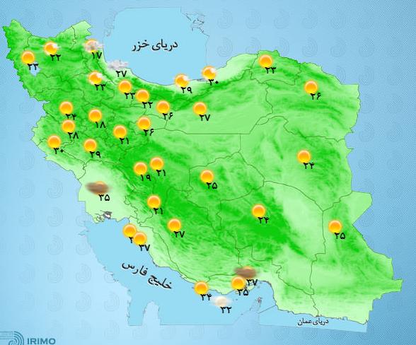 افزایش ابر و بارش پراکنده در مناطق شمالی کشور