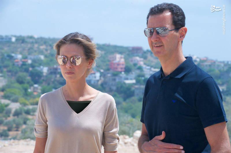 بشار اسد و همسرش در شهر ساحلی طرطوس +عکس