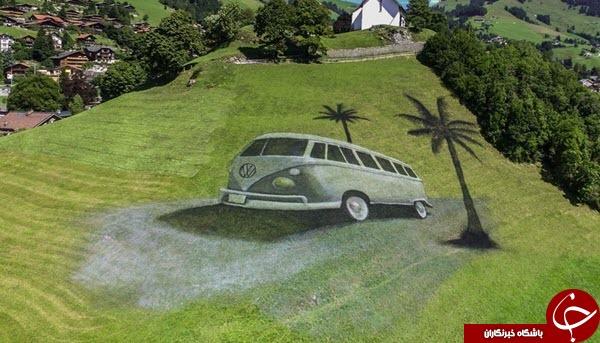 نقاشی غول پیکر هنرمند فرانسوی روی زمین+عکس