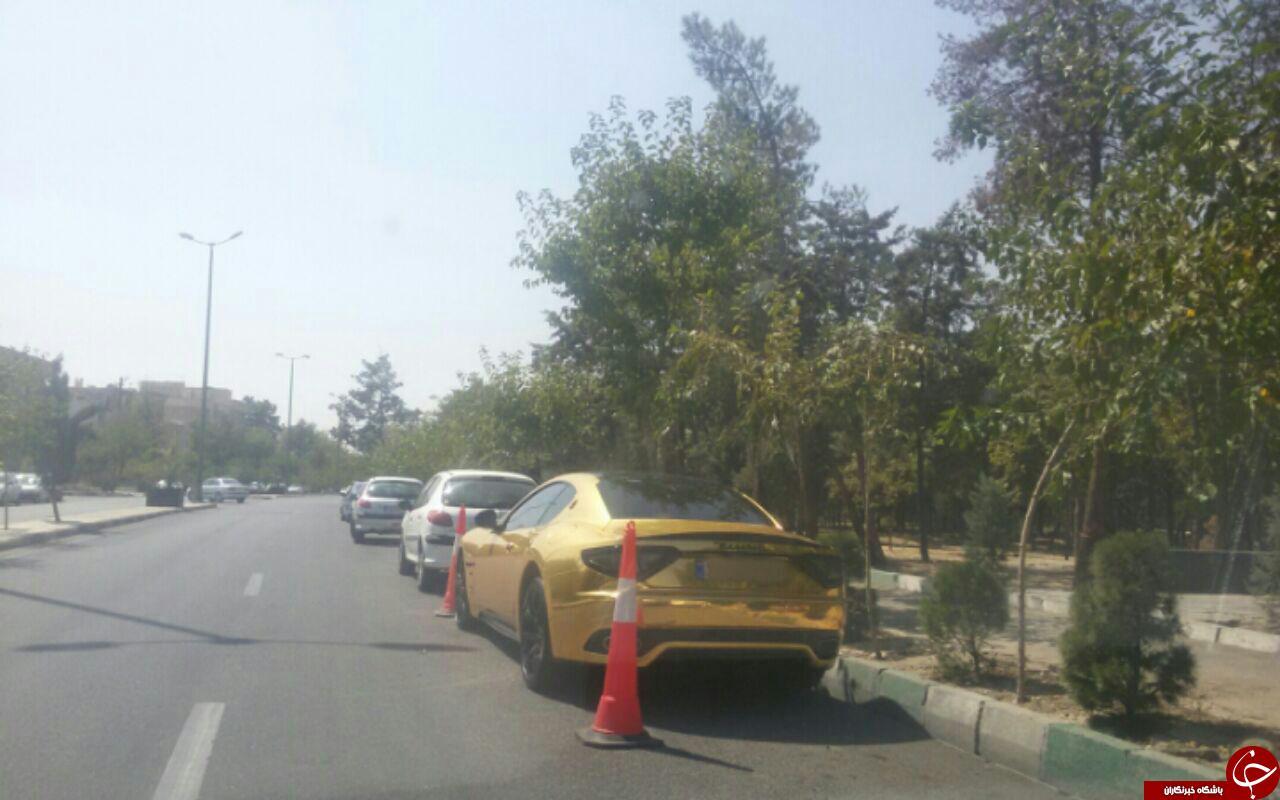 تصاویری از خودرو بوگاتی طلایی در شهرک غرب