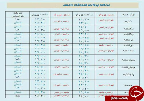 پروازهای شنبه یکم مهر از فرودگاه های مازندران