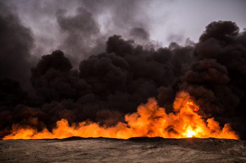 آتشزدن سه چاه نفت در شهر کرکوک توسط داعش