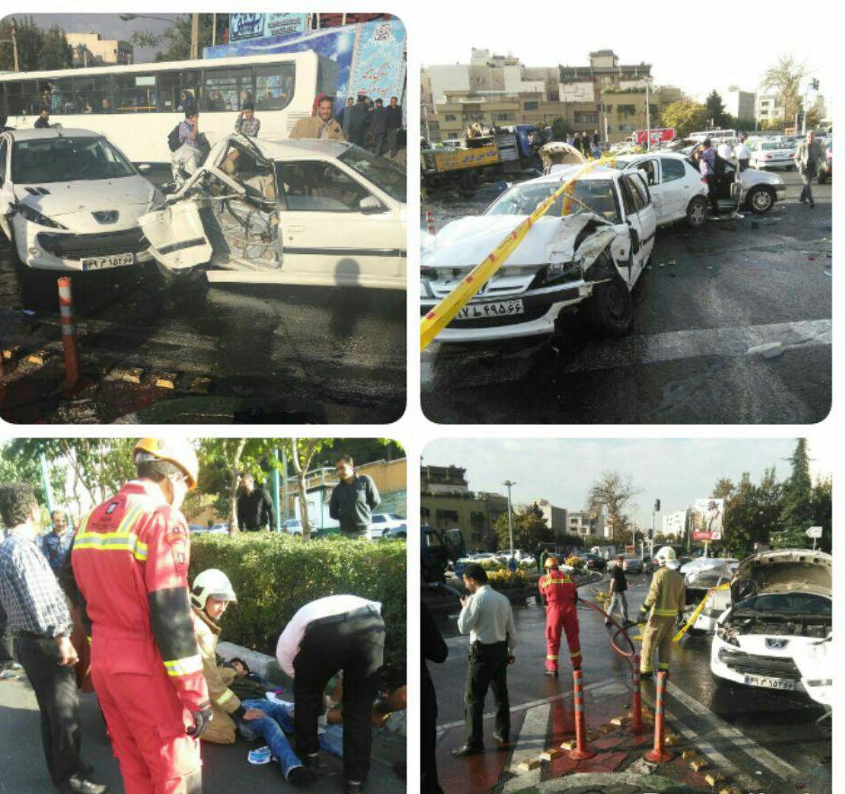 ترافیک در 3 بزرگراه تهران به دلیل تصادف زنجیره ای
